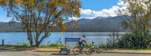 cycling Lake Te Anau